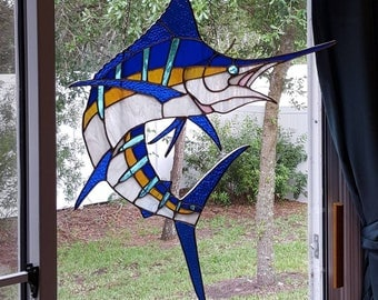 Stained Glass Jumping Blue Marlin
