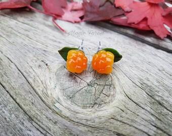 Miniature cloudberry earrings, tiny studs, orange earrings, summer earrings, woodland earrings, nature berry earrings, realistic berries