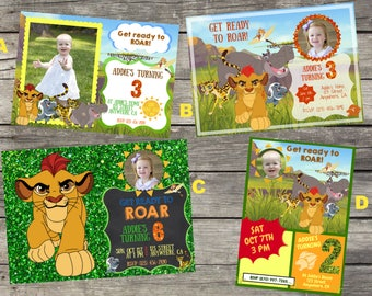 Personalized Disney's The Lion Guard Birthday Invitation- Digital File Only- DIY 5x7