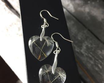 925 Sterlingssilber filigrane Ohrringe Herz Heart mit echten Pusteblumen Earrings ,Dandelion  ,Geschenk ,flower jewellery , Glücksbringer