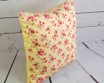yellow floral pink rose cushion cover, shabby chic 16inch pillow cover, square  cotton pillow case with pink flowers, toss pillow cover