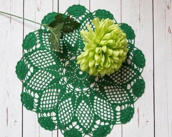 "green crochet lace doily, round 40cm 16""  handmade cotton lace doily, green table centrepiece, green table decor, home gift, lace tablecloth"