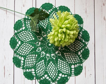 """green round hand crocheted doily, 40cm ( 16"""")  cotton doily, home decoration, table decor, home gift, lace tablecloth, home accessories"""