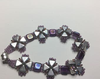 Purple and Silver Criss-Cross Wrap Bracelet