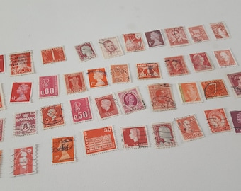 Mixed Lot Of 40 World Vintage Used Red Stamps Ephemera For Scrapbooking, Collage, Art Journaling, Crafting, Decoupage