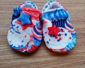USA Baby shoes,Red White and Blue baby shoes,Independence Day Baby Shoes,4th of July Baby Shoes,Cupcake Baby Shoes,Holiday Baby Shoes,