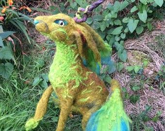 Needle felted moss jackalope unicorn hairycorn hare