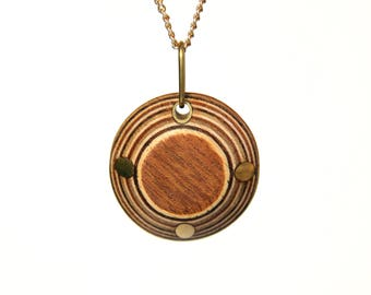 Handmade Wooden Jewellery - Wood & Metal Necklace Pendant