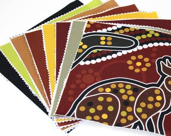 "8""x8"" Fabric Pieces, Qty: 8, 100% Polyester, Sewing Fabric, Craft Fabric, 8x8 in Sq Fabric, Solid Color Fabric, Australian Print (CS114)"