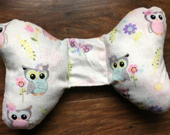 Minky head support, Owl Print, Positional Plagiocephaly, carseat or stroller head support, torticollis neck support, Baby Branch Boutique