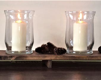 "Rustic Wood Centerpiece with Two Hurricane Vases - 30"" and 36"" Wood Table Runner"