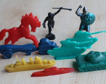 Plastic toys of the times of the USSR, soldiers, tanks, horses, boats, 9 pcs.
