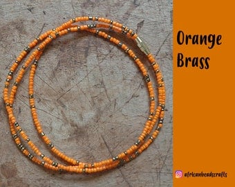 Orange Brass - Waist Beads - Belly Chain - Belly Beads - African Waist Beads