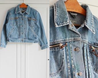 RALPH LAUREN Denim Jacket Vintage Oldschool Blue 1980s Women Outerwear High fashion retro clothing / Medium Large