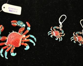 Crab Pendant & Earring Set