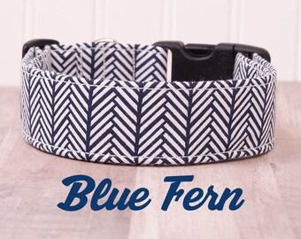 "Navy Blue and White Geometric Arrow Dog Collar ""Blue Fern"""