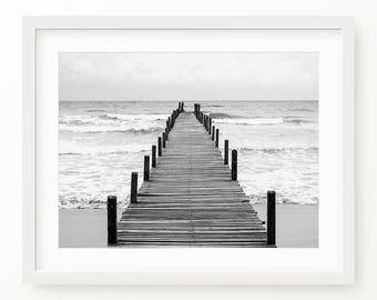 Ocean Art Print, Beach Surf, Waves, Ocean Water, Pier Coastal Wall Decor, Beach Art, Printable Poster, Digital Print, Digital Download