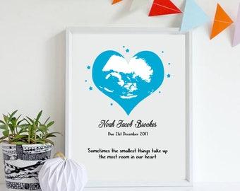 ultrasound art - Personalised Baby Scan -  Baby shower gift - mum to be gift - newborn gift - baby memorabilia - Baby keepsake - unique baby
