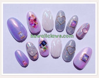 Pastel Holo & Fairy Dust Iridescent 3D Gel Nail Art Press on false fake nails