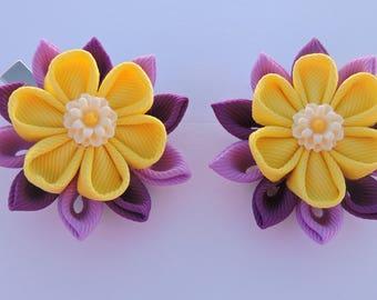 Kanzashi Fabric Flowers. Set of 2 hair clips. Lemon,Wisteria and Purple clips.