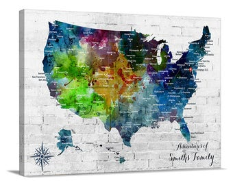 Us Map Etsy - Us map canvas wall art