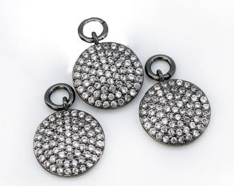 Coin CZ   Black Pave Small Charm Pendant 11mm