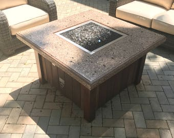 Propane Fire Pit Table with Concrete Top