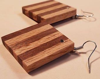 Oak And Walnut Square Striped Earrings