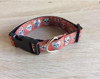 Medium dog collar adjustable red candy skulls design