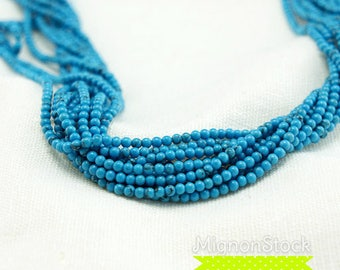 Blue - turquoise on strand 40cm - Magnesite gemstone (Dimensions: 2 mm)