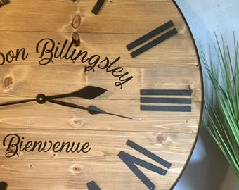 "36"" Wall Clock Large, Wall Clock, Wood, Rustic, Battery operated, Office Clock, Farmhouse Decor, Farmhouse, Rustic Decor, Wall Decor"