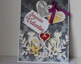 Double gray hand made Valentine card