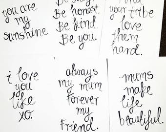 Handwritten quotes customized, on artist paper - available in A3, A4, A5 (word length dependant) - wall art - wall decor - handmade wall art