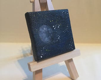 "Mini Night Sky Painting, 2x2"", acrylic on canvas"