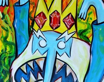 Angry Ice King Giclee Print- Fine Art Psychedlic Adventure Time
