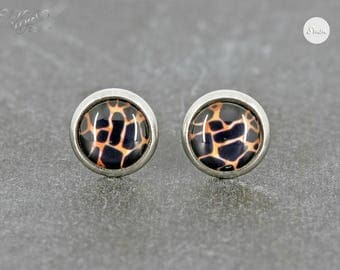 earrings stainless steel cabochon leo muster 8 mm leopard stainless steel stud earring - Leo Muster