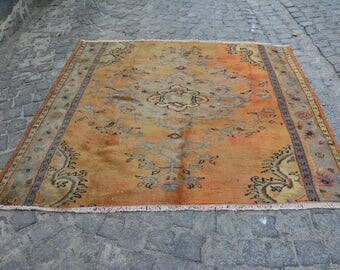 6.1' x 6.4'  Pale Orange Rug 185 x 195 cm Turkish Wool Rug Faded Color Rugs Turkish Decor Free Shipping Floral Decorative Design  Code 1508