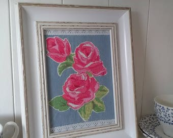 Roses picture in white vintage style frame, handmade fabric roses picture on denim, Pretty pink roses in vintage style frame, roses on denim