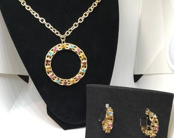 "Vintage Sarah Coventry 1974 ""Picadilly Circle"" Necklace and Earring Set."