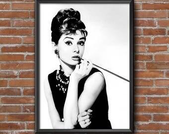 Audrey Hepburn poster,  Fashion icon, Female legend. Wall art modern decor. Free worldwide shipping!