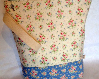 Large knitting project bag hand made using Tilda fabric