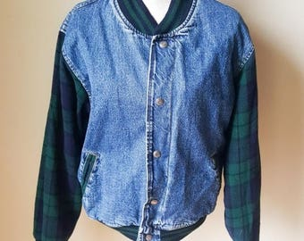 Vintage Gap Flannel Long Sleeve Denim Jacket Coat