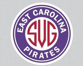 East Carolina Pirates Monogram Frame,Cuttable Design Files(Svg, Eps,Dxf, Png),Silhouette Studio Cameo Cricut Design space, INSTANT DOWNLOAD