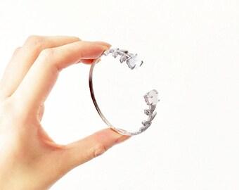 Divine Bridal Cuff Bracelet - Sterling silver, white topaz. Minimalist. Wedding Jewelry.