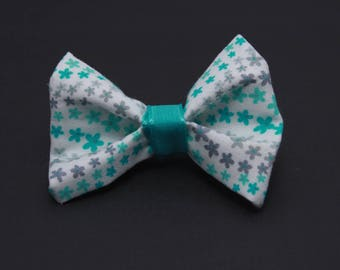 Mini hairbow white with teal and grey flowers
