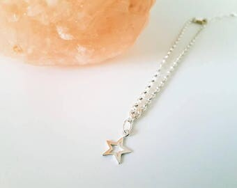 Handmade 925 sterling silver star anklet, 925 silver chain, 925 silver star charm, gift boxed.