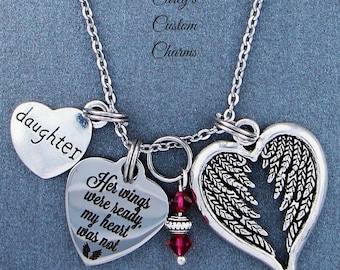Daughter ~ Her Wings Were Ready, My Heart Was Not Memorial Necklace, Swarovski Birthstone, Sympathy Jewelry Memorial Gift, Personalized Gift