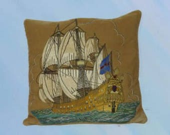 Hand Made Embroidery Vintage Art Cushion - Made from Recycled Materials - One of a kind