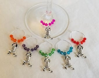Wine Glass Tags, Wine Charms, Wine Glass Markers, Glass Charms, Set of 6, Frogs, Fun, Tibetan silver, Party, Gift, Present
