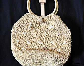 Vintage raffia straw handle bag with embroidery and beads